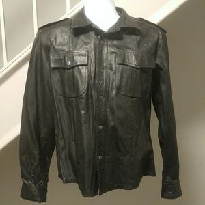 Black Leather Shirt/Jacket sized Medium